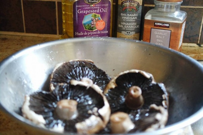 Marinate portabella with garlic sea salt, balsamic and grapeseed oil  to taste    preheat oven 450c -15mins