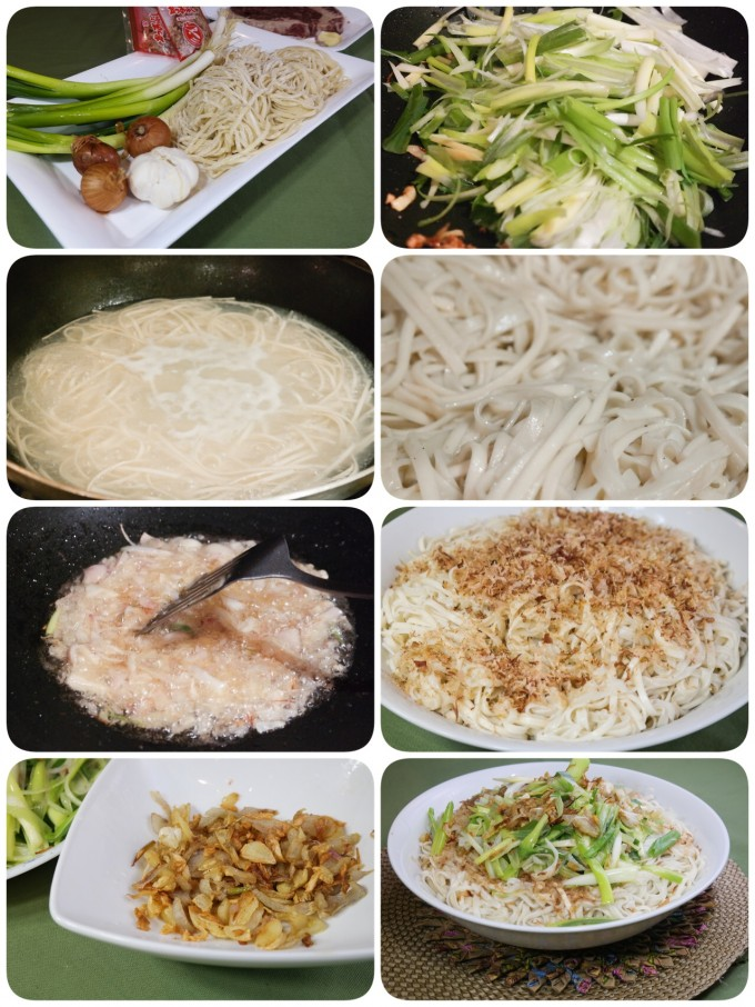 Steps~ 1: Add 450-500g of noodle to one pot of hot boiling water, stir gently,cook for about 3-5 mins, or until noodle is soft, then drain under cold water,set aside . 2: sauté chopped garlic, shallot until fragrant , dish up and set aside. 3: sauté spring onion in hot pan with hot oil, dish up and set aside. 4: Sauté noodle in hot pan with garlic and shallots oil , salt to taste until noodle is evenly flavored, dish up. 5: add bonito flakes on top of noodle, mix well with fried garlic,shallot, and green onion, done and serve.
