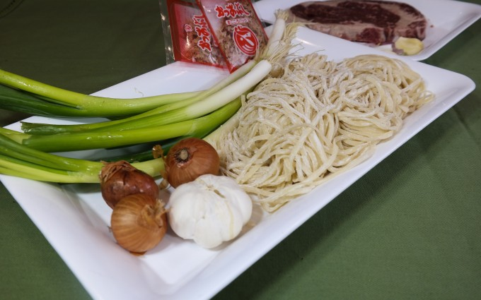 Ingredients ~ 1: one whole garlic, 3 shallots , green onion 4-5 sprig bonito flakes 2: Asian style Fettuccine 450- 500gm