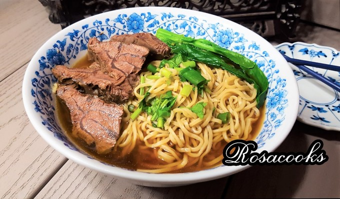 Family style braised beef noodle soup with beef shank @Rosacooks
