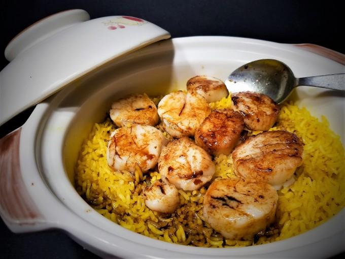 Pan Seared Scallops of Turmeric Pot Rice @ Rosacooks