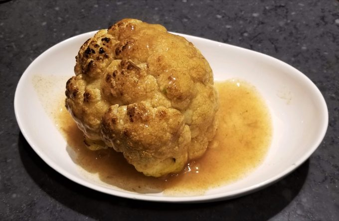 Sea salt Cauliflower with dried scallop-abalone sauce@Rosacooks